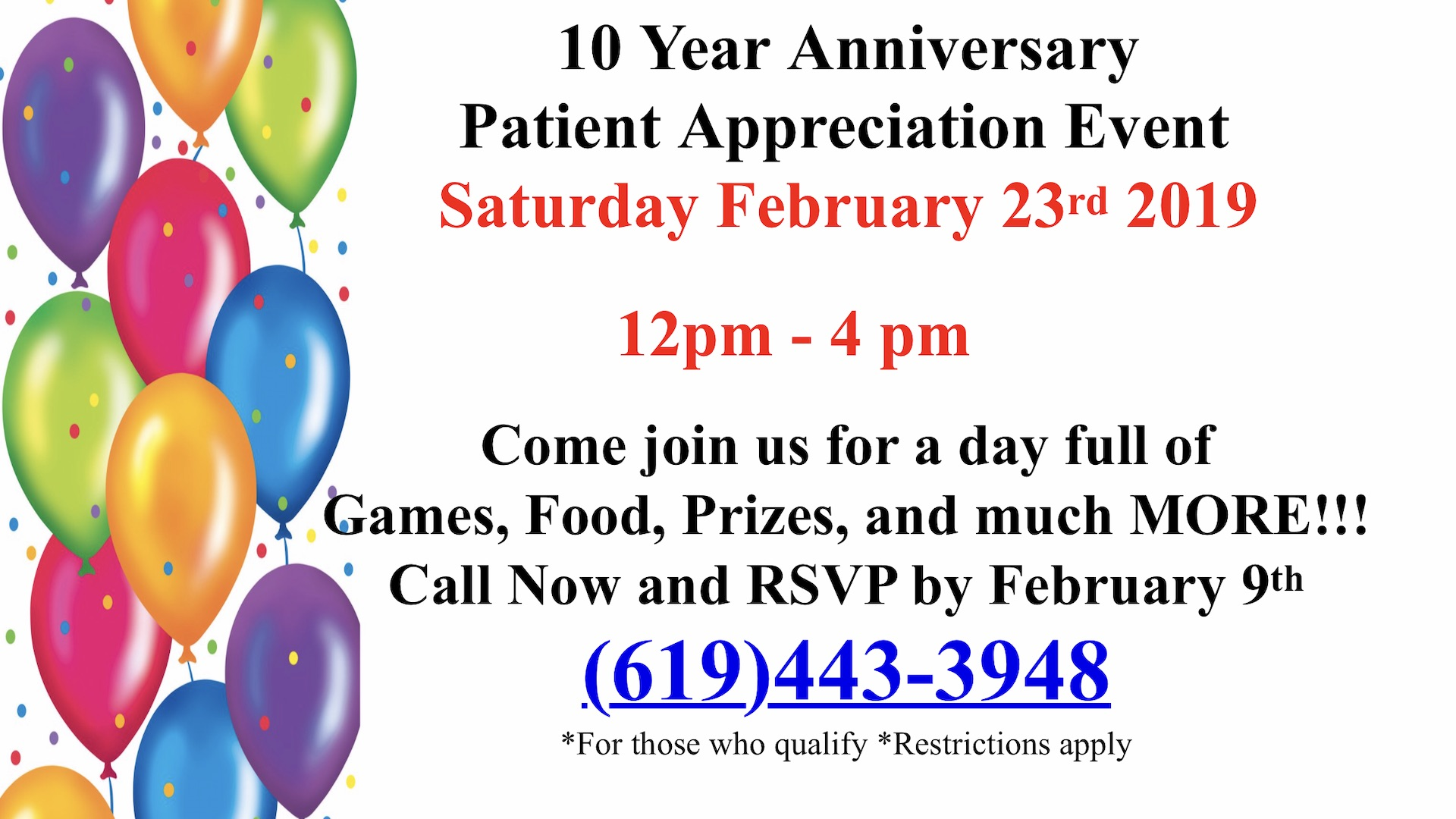10 Year Anniversary - Patient Appreciation Event